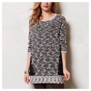 Anthropologie MOTH Staccato Lace Striped Sweater